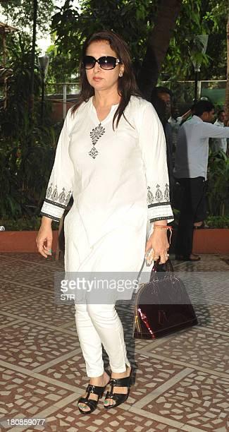 Indian Bollywood film actress Poonam Dhillon attends a prayer meet for Bollywood film actress Madhuri Dixit's father Shankar Dixit in Mumbai on...