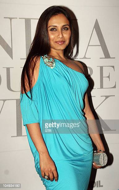 Indian Bollywood film actress Rani Mukharjee attends the opening party of the HDIL Couture Week 2010 in Mumbai on October 5 2010 AFP PHOTO/STR