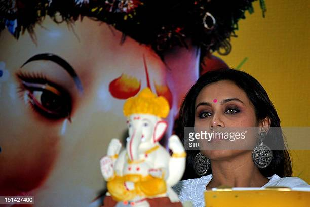 Indian Bollywood film actress Rani Mukherjee celebrates the Festival of Times Green Ganesha 2012 at Sofia College in Mumbai on September 7 2012 AFP...