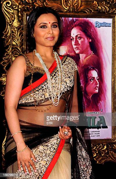 Indian Bollywood film actress Rani Mukherjee poses on the red carpet at the premiere of the Hindi film 'Jab Tak Hai Jaan' in Mumbai on November 12...