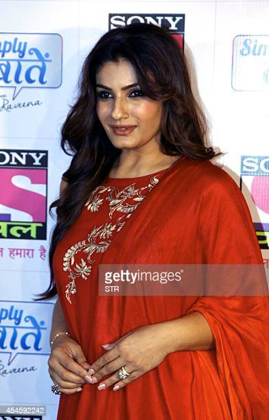 Indian Bollywood film actress Raveena Tandon attends the Sundown Party of Sony Pal channel in Mumbai on September 3 2014 AFP PHOTO/Sujit Jaiswal