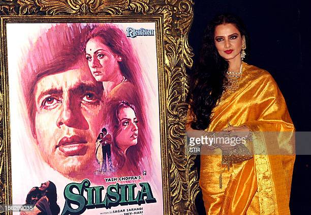 Indian Bollywood film actress Rekha poses on the red carpet at the premiere of the Hindi film 'Jab Tak Hai Jaan' in Mumbai on November 12 2012 AFP...