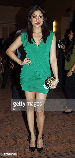 Indian Bollywood film actress Shamita Shetty attends the Lakme Fashion Week Winter/Festival 2013 in Mumbai on August 24 2013 AFP PHOTO