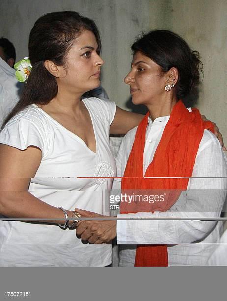 Indian Bollywood film actress Shiba attends a prayer meeting for the late veteran actor Jagdish Raj father of actress Anita Raj in Mumbai on July 30...