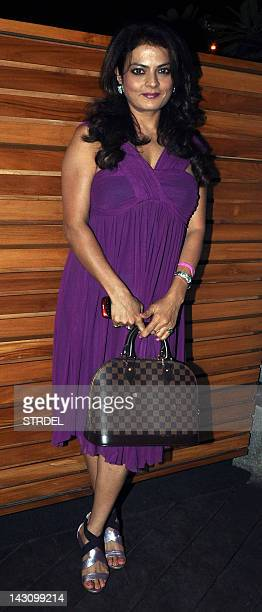 Indian Bollywood film actress Shiba poses during the birthday celebration of Indian Bollywood film actress Poonam Dhillon in Mumbai on April 18 2012...
