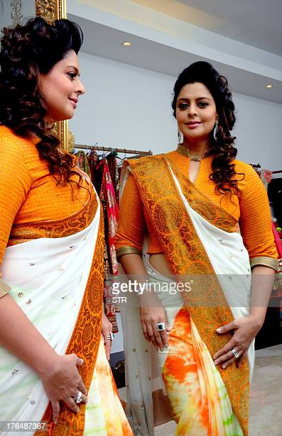 Indian Bollywood film actress social and political activist Nagma showcases designer Amy Billimorias 'Independence day' collection in Mumbai on...