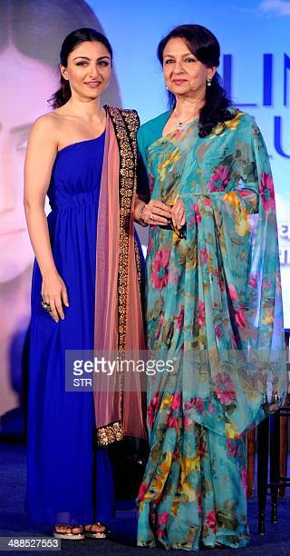 Indian Bollywood film actress Soha Ali Khan and her mother veteran actress Sharmila Tagore pose during the press conference for Clinic Plus and Plan...