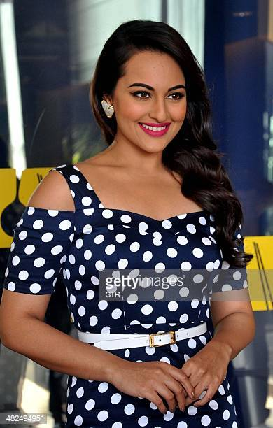 Indian Bollywood film actress Sonakshi Sinha poses during the launch of the cover page of Women's Health Magazine in Mumbai on April 3 2014 AFP PHOTO