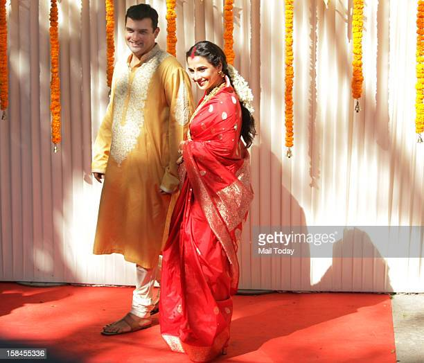 Indian Bollywood film actress Vidya Balan and her husband Siddharth Roy Kapur during their Wedding Ceremony in Mumbai on December 14 2012
