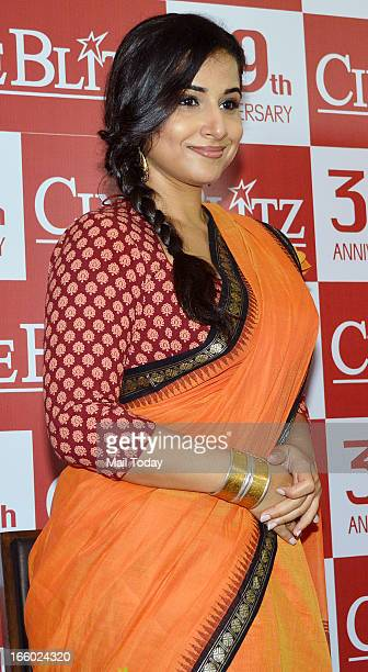 Indian Bollywood film actress Vidya Balan during the unveiling of the 39th anniversary issue of Cine Blitz magazine Celebrating 100 Years of Hindi...