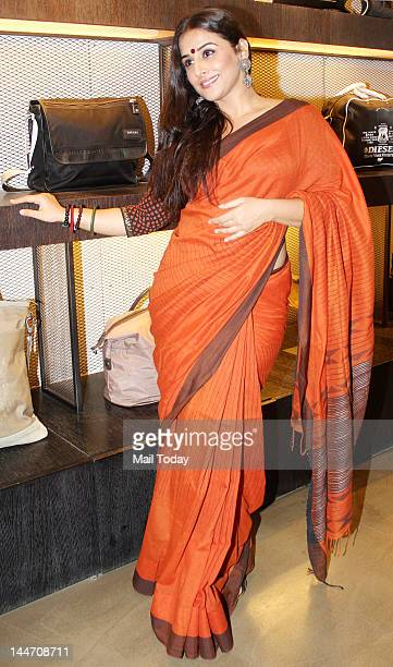 Indian Bollywood film actress Vidya Balan poses during the unveiling of the DVD of Hindi film Kahaani directed by Sujoy Ghosh in Mumbai on May 16 2012
