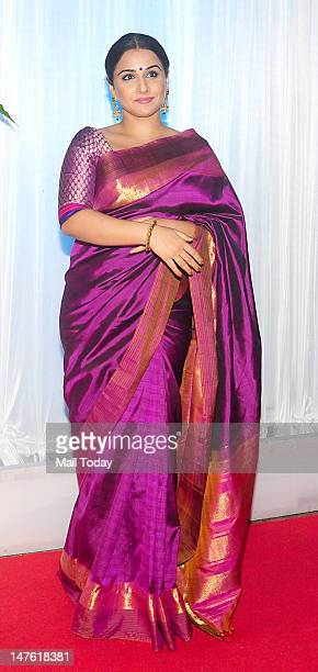 Indian Bollywood film actress Vidya Balan poses during the wedding reception ceremony of film actress Esha Deol and husband Bharat Takhtani in Mumbai...