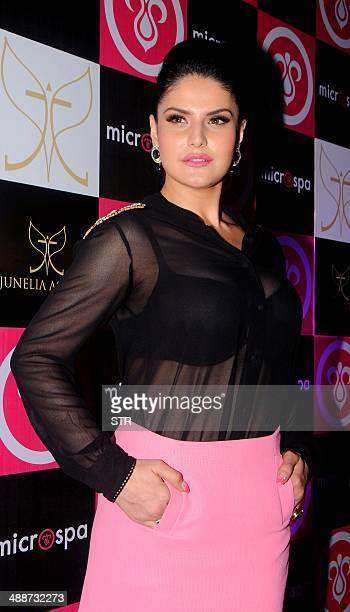 Indian Bollywood film actress Zarine Khan attends the launch of 'Microspa' in Mumbai on May 7 2014 AFP PHOTO
