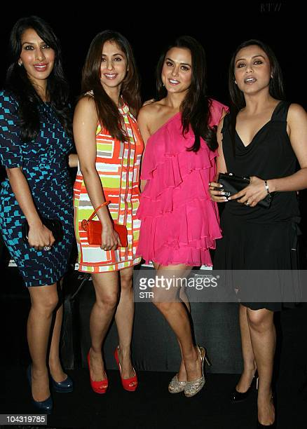 Indian Bollywood film actresses Rani Mukharjee Preity Zinta Urmila Matondkar and Sophie Chaudhary attend Indian designer Manish Malhotra's show...