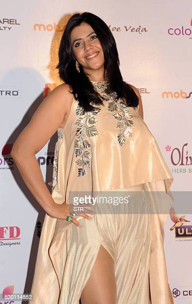 Indian Bollywood film and television producer Ekta Kapoor poses as she attends Femina Miss India Grand Finale 2016 in Mumbai late April 9 2016 / AFP...