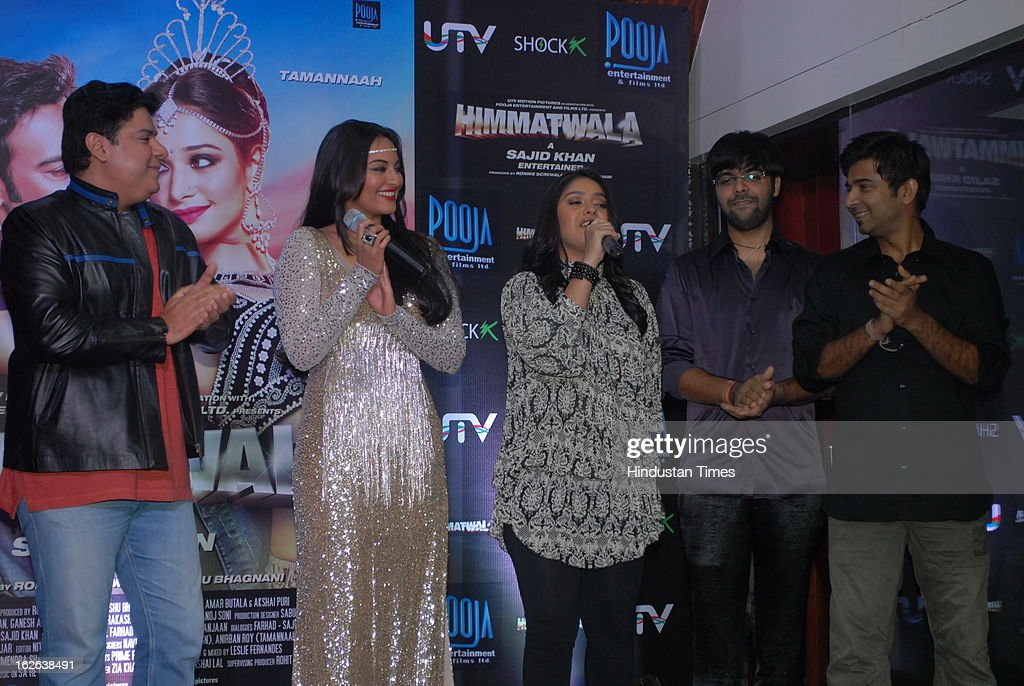 Indian bollywood film director Sajid Khan with actor Sonakshi Sinha singer Sunidhi Chauhan Sachin Sanghavi and Jigar Saraiyya during the music launch.