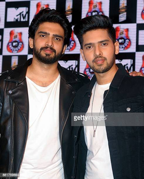 Indian Bollywood film music composer and playback singrs Amaal Malik and Armaan Malik attend the press conference for Royal Stag Barrel Select MTV...