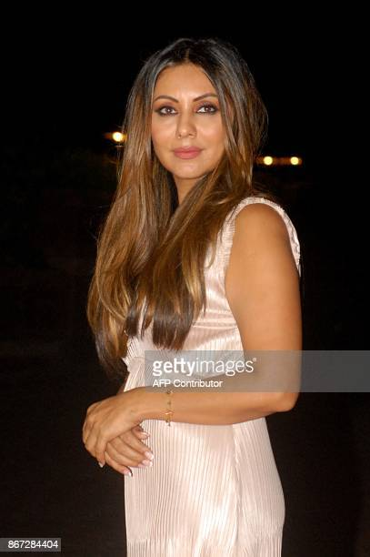 Indian Bollywood film producer and an interior designer Gauri Khan attends the Gauri Khan Ensures Cirque Le Soir Party in Mumbai on October 27 2017 /...