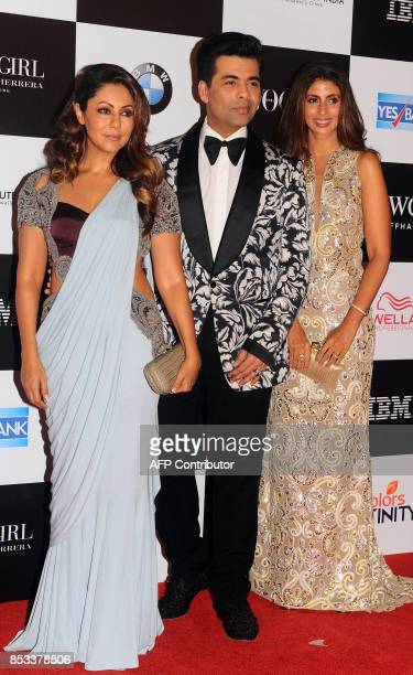 Indian Bollywood film producer Gauri Khan director Karan Johar and Shweta Bchchab pose for a photo during the 10th edition of the 'Vogue Women of the...
