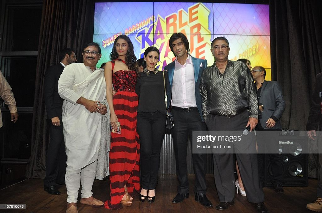 Indian Bollywood filmmakers Suneel Darshan and Dharmesh Darshan along with actors Karisma Kapoor Shiv Darshan and Hasleen Kaur during an event on...