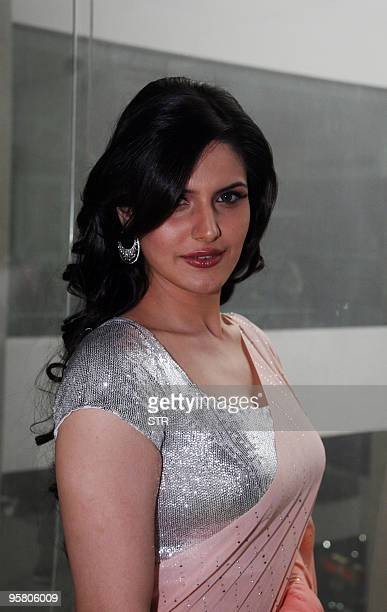 Indian Bollywood Hindi film of VEER lead actress Zarine Khan arrives at a local radio station to promote the film in Mumbai on January 15 2010 AFP...