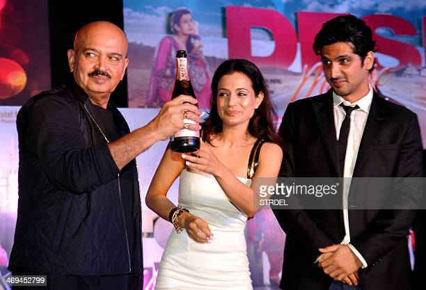 Indian Bollywood personalities Rakesh Roshan Ameesha Patel and Zayed Khan attend a promotional event for the upcoming Hindi film Desi Magic in Mumbai...