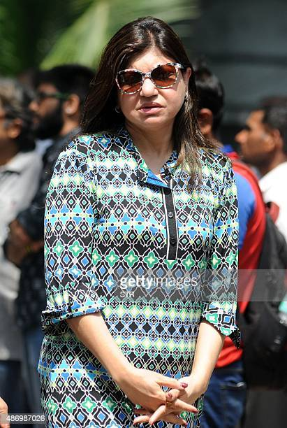Indian Bollywood play back singer Alka Yagnik attends the funeral of the late Bollywood music composer and singer Aadesh Shrivastava in Mumbai on...