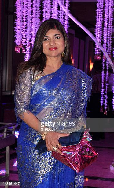 Indian Bollywood playback singer Alka Yagnik attends the wedding reception of playback singer Sunidhi Chauhan and musician Hitesh Sonik during in...