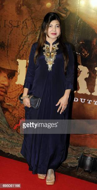 Indian Bollywood playback singer Alka Yagnik poses for a photograph at the 20th anniversary celebration of Hindi film Border produced and directed by...