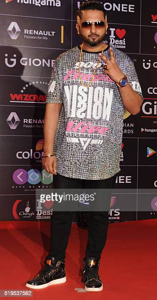 Indian Bollywood playback singer Honey Singh attends the Global Indian Music Academy awards ceremony in Mumbai on April 6, 2016. / AFP / -