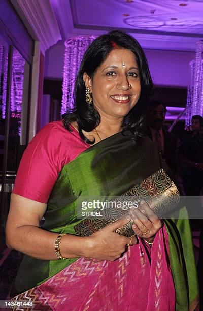 Indian Bollywood playback singer Kavita Krishnamurthy attends the wedding reception of playback singer Sunidhi Chauhan and musician Hitesh Sonik...