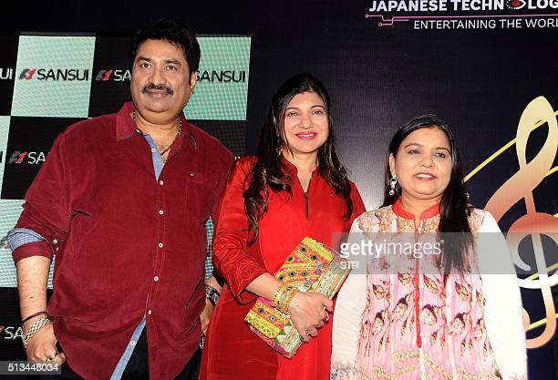 Indian Bollywood playback singers Kumar Sanu Alka Yagnik and Sadhana Saragam attend an event in honour of Bollywood music director and singer Anu...