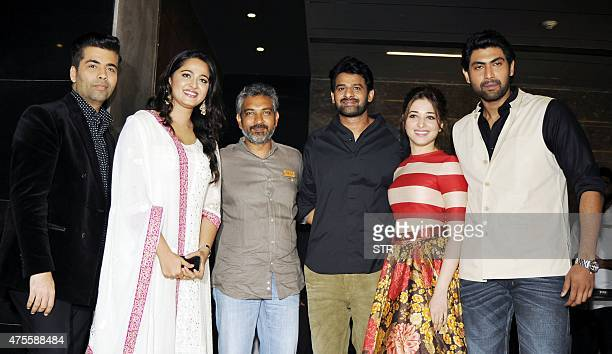 Indian Bollywood producer Karan Johar actress Anushka Shetty writer and director S S Rajamouli and actors Prabhas Tamannaah Bhatia and Rana Daggubati...