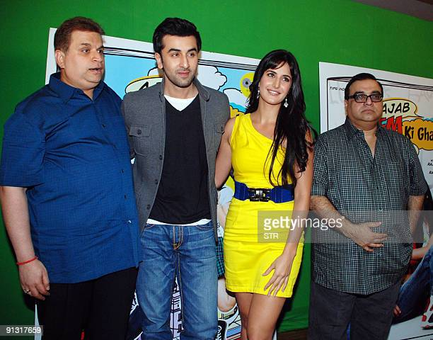 Indian Bollywood Producer Ramesh Taurani actor Ranbir Kapoor actress Katrina kaif and director Raj Kumar Santoshi pose while attending the soundtrack...