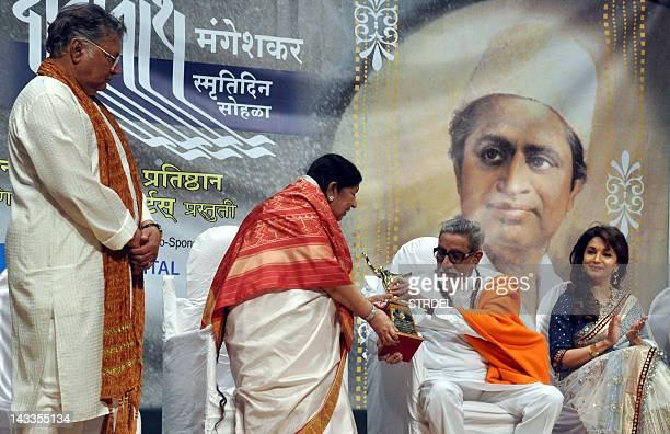 Indian Bollywood senior Marathi and Hindi actor Vikram Gokhale legendary playback singer Lata Mangeshkar politician Shiv Sena chief Bal Thackeray and...