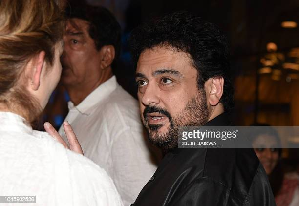 Indian Bollywood singer Adnan Sami attends a prayer meet for the late Krishna Raj Kapoor wife of late actor Raj Kapoor in Mumbai on October 04 2018