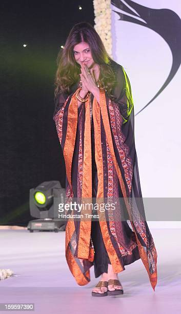 Indian bollywood singer Alka Yagnik walk on the ramp during the Beti Fashion Show 2013 was organized by the ITA for acid and rape victims at JW...