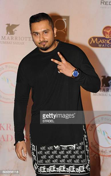 Indian Bollywood singer Honey Singh poses for a photograph during the Vikram Phadnis fashion show in Mumbai on late January 16 2016 AFP PHOTO / STR /...