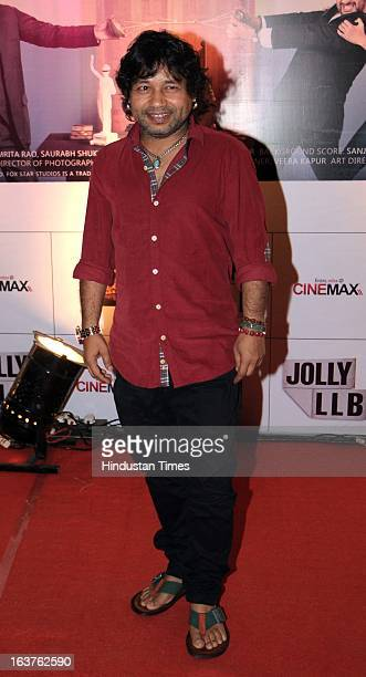 Indian Bollywood singer Kailash Kher during the premier of movie 'Jolly LLB' at Cinemax on March 13 2013 in Mumbai India