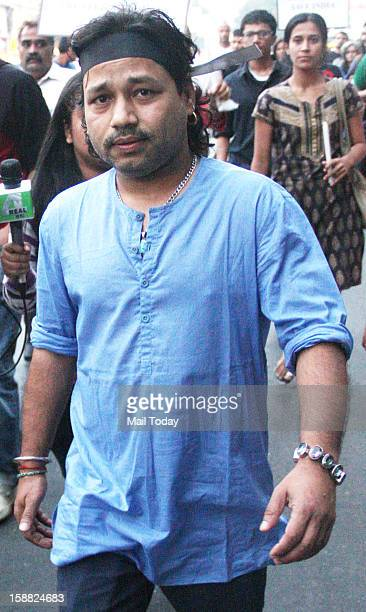 Indian Bollywood singer Kailash Kher during the rally for Delhi rape case rally in Mumbai on Saturday
