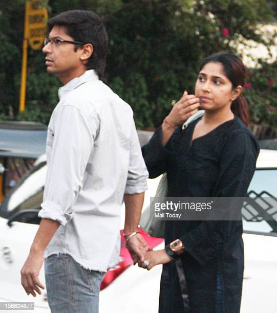 Indian Bollywood singer Shaan and his wife Radhika Mukherjee during the rally for Delhi rape case rally in Mumbai on Saturday