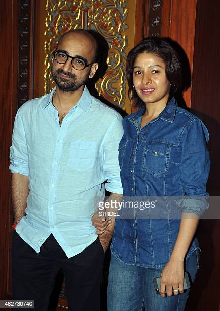 Indian Bollywood singer Sunidhi Chauhan and her husband musician Hitesh Sonik attend the launch of the 'Ek Maheena Nazmon Ka' poetry compilation...