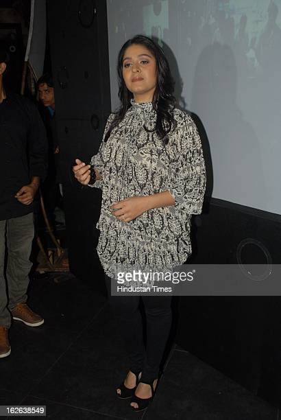 Indian bollywood singer Sunidhi Chauhan during the music launch of movie 'Himmatwala' at Shockk Lounge in Bandra Link road on February 22 2013 in...