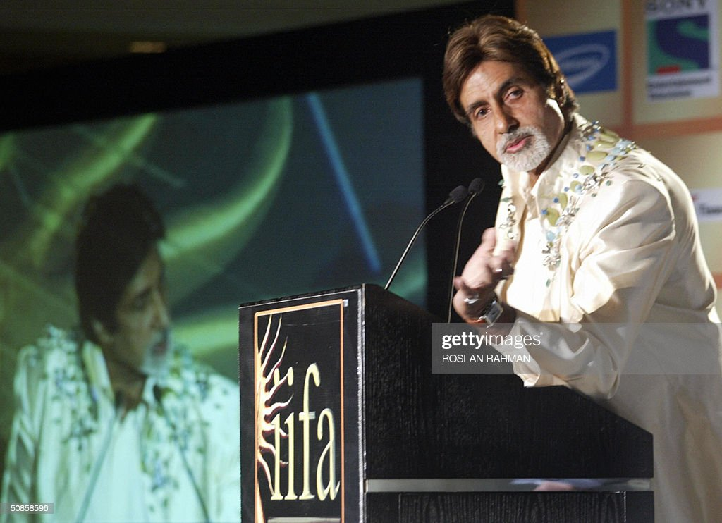 Indian Bollywood star Amitabh Bachchan speaks during a press conference to mark the 5th International Indian Film Academy (IIFA) Award, in Singapore 20 May 2004.