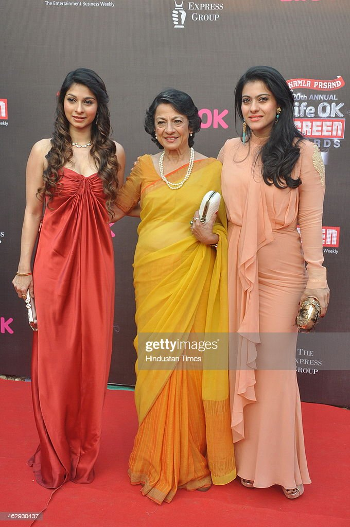 Indian Bollywood veteran actor Tanuja with her daughters and Bollywood actors Tanisha Mukherjee and Kajol Devgan during the 20th Annual Life OK...