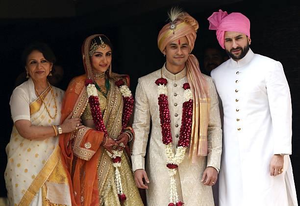Indian Bollywood Veteran Actress Sharmila Tagore L And Saif Ali Khan R