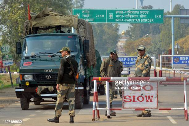 Indian Border Security Force personnel stand guard at the IndiaPakistan Wagah border some 35 kms from Amritsar on February 26 2019 An air strike...