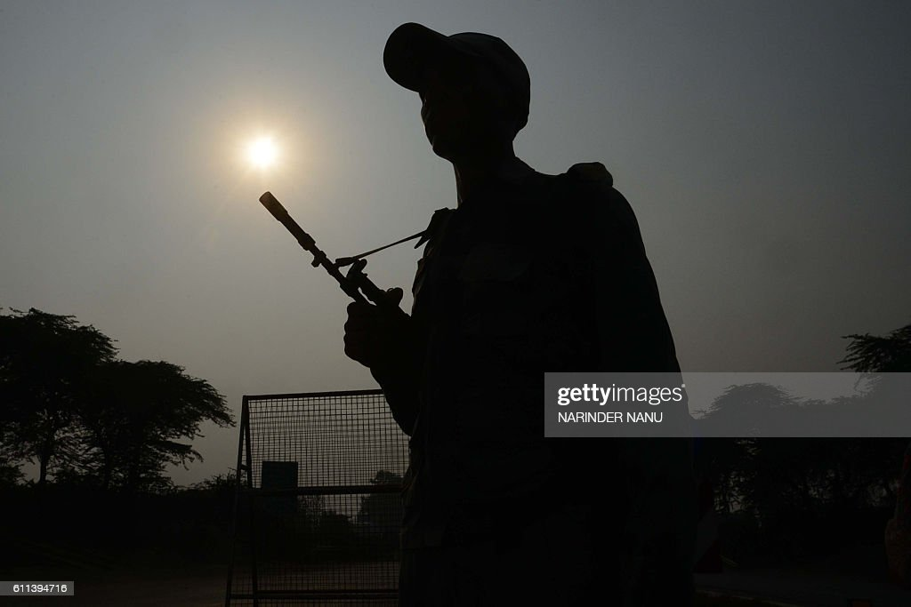 Indian Border Security Force personnel stand guard at the IndiaPakistan Wagah Border about 35 km from Amritsar on September 29 after the Punjab state.