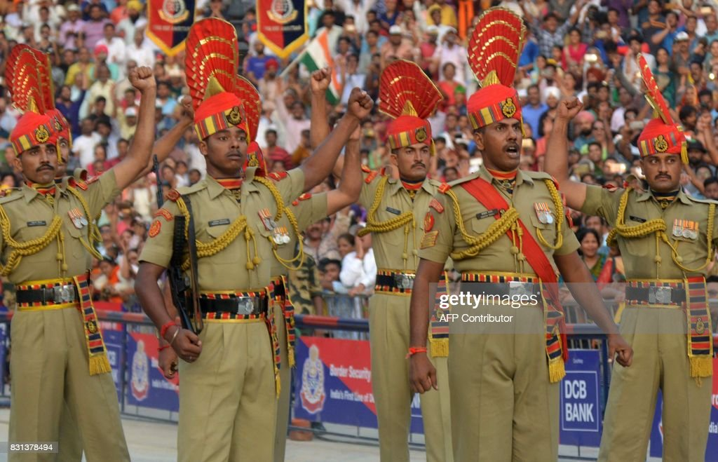 Indian Border Security Force personnel take part in the daily beating of the retreat ceremony at the IndiaPakistan Wagah Border Post some 35kms west..