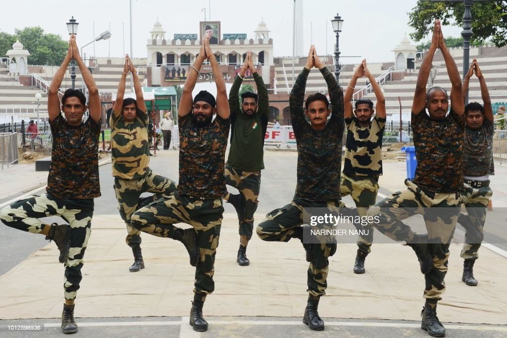 Indian Border Security Force soldiers rehearse during preparations ahead of Indian Independence Day celebrations at the IndiaPakistan Wagah border...